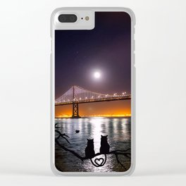 Oakland Bay Bridge with Cats in Love (San Francisco) Clear iPhone Case