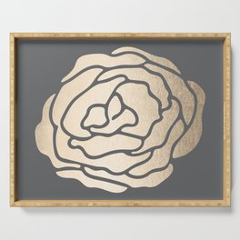 Rose in White Gold Sands on Storm Gray Serving Tray
