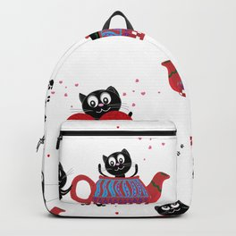 Teapot with black cats. Happy Valentine's day seamless fabric design Backpack