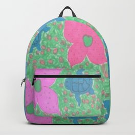 Turtles and Flowers Tropical Pattern Backpack