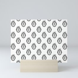 Queen Bee Pattern No. 2 | Vintage Bees with Crown | Black and White | Mini Art Print