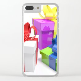 Three gift boxes on white surface - 3D rendering Clear iPhone Case