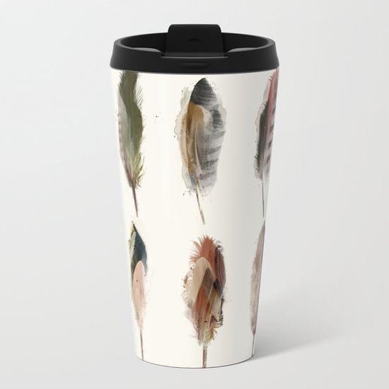 nature feathers Metal Travel Mug