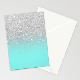 Modern girly faux silver glitter ombre teal ocean color bock Stationery Cards