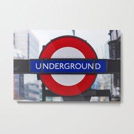 London Underground Sign photography Metal Print