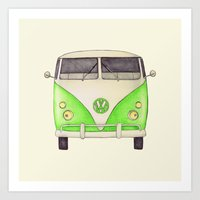 volkswagon Art Prints featuring VW Type 2 by One Curious Chip