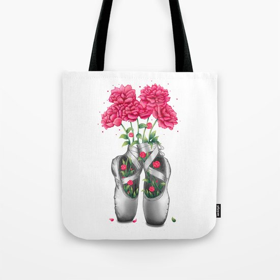 Pointe with pink peonies Tote Bag