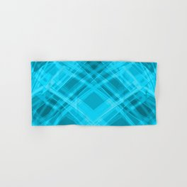 Swirling light blue ribbons with a pattern of symmetrical checkerboard rhombuses.  Hand & Bath Towel