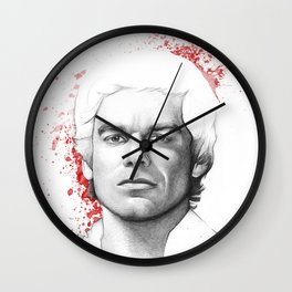 Dexter Morgan Portrait, Blood Splatters Wall Clock