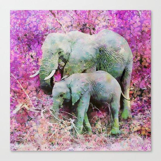 Elephant art mother child pink floral Canvas Print