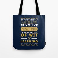 ravenclaw Tote Bags featuring Ravenclaw by Dorothy Leigh
