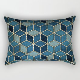 Shades Of Turquoise Green & Blue Cubes Pattern Rectangular Pillow