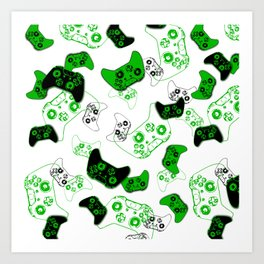 Video Game White and Green Art Print