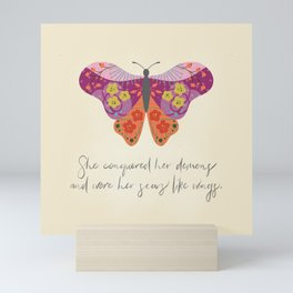 Botanical Butterfly: She conquered her demons Mini Art Print
