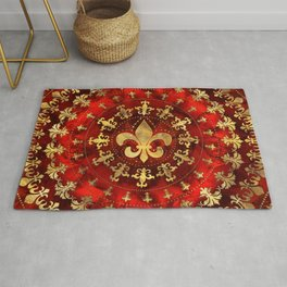 Fleur-de-lis ornament Red Marble and Gold Rug