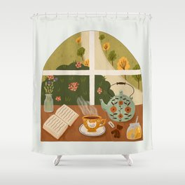 Tea Time by the Window Shower Curtain