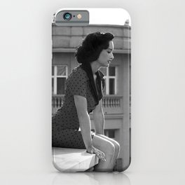 Woman on High, female form cityscape black and white photograph / photography iPhone Case