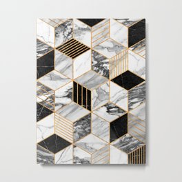 Marble Cubes 2 - Black and White Metal Print