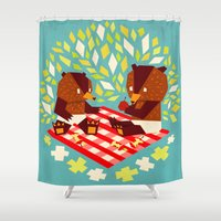 yetiland Shower Curtains featuring picknick bears by Yetiland
