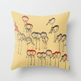 Birds in Cherry Cream Soda Throw Pillow