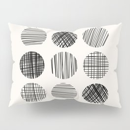 Abstract Line Work Circles in Black and Cream Pillow Sham