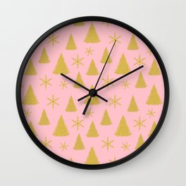 Pink and Gold Christmas Tree Pattern Wall Clock