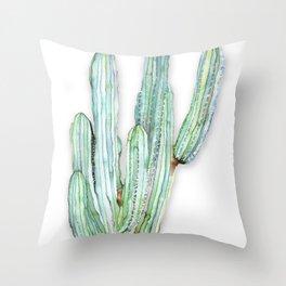 Saguaro Cactus Watercolor Painting Throw Pillow