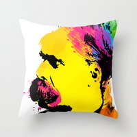 nietzsche Throw Pillows featuring Friedrich Wilhelm Nietzsche by DIVIDUS