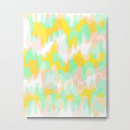 Lara - Chartreuse and mint abstract art Metal Print