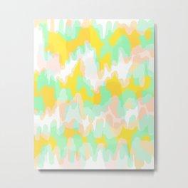 Lara - Chartreuse and mint abstract art Metal Print