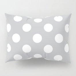 Silver sand - grey - White Polka Dots - Pois Pattern Pillow Sham