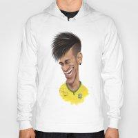 brazil Hoodies featuring Neymar - Brazil by Sant Toscanni