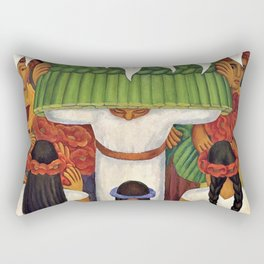 Flower Festival No. 2 - Feast of Santa Anita by Diego Rivera Rectangular Pillow