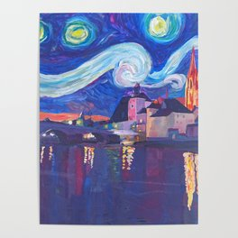 Starry Night in Regensburg  Van Gogh Inspirations on River Danube Poster