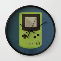 gameboy Wall Clocks featuring GameBoy by Beardy Graphics