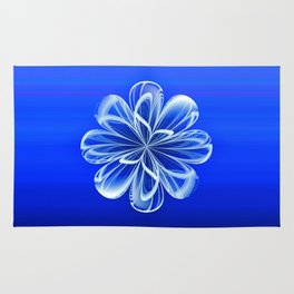 White Bloom on Blue Rug