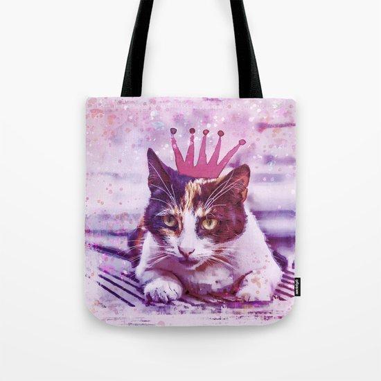 cute cat princess pink crown art Tote Bag