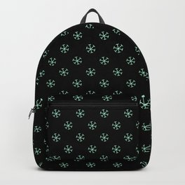 Magic Mint Green on Black Snowflakes Backpack