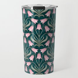 Art Nouveau Bellflower Emerald Green and Pink Travel Mug