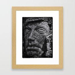 Stone Idol in Black and White Framed Art Print