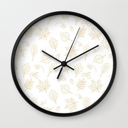 Autumn foliage pattern with gold leaves, acorns Wall Clock