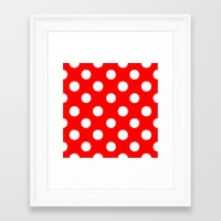 polka dots Framed Art Prints featuring Polka Dots (White/Red) by 10813 Apparel