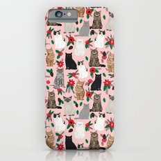 Catsmas christmas poinsettias florals cat breeds pet friendly festive holiday gifts iPhone 6s Slim Case