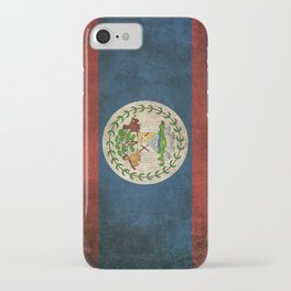 Old and Worn Distressed Vintage Flag of Belize iPhone Case