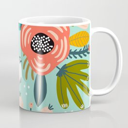 Mid-Century Modern Floral Print With Trendy Leaves Coffee Mug