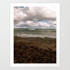 Stony Beach in Rogers City, MI Art Print