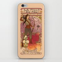 la iPhone & iPod Skins featuring La fille du feu by Megan Lara