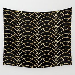 Art Deco Series - Black & Gold Wall Tapestry