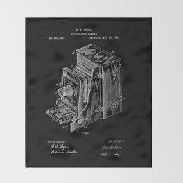 Vintage Camera Patent - White on Black Throw Blanket