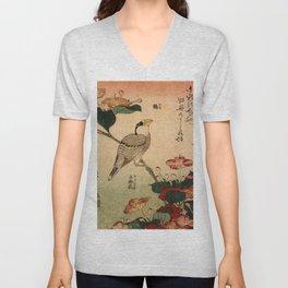 Hokusai,Hawfinch and mirabilis - manga, japan,hokusai,japanese,北斎,ミュージシャン Unisex V-Neck